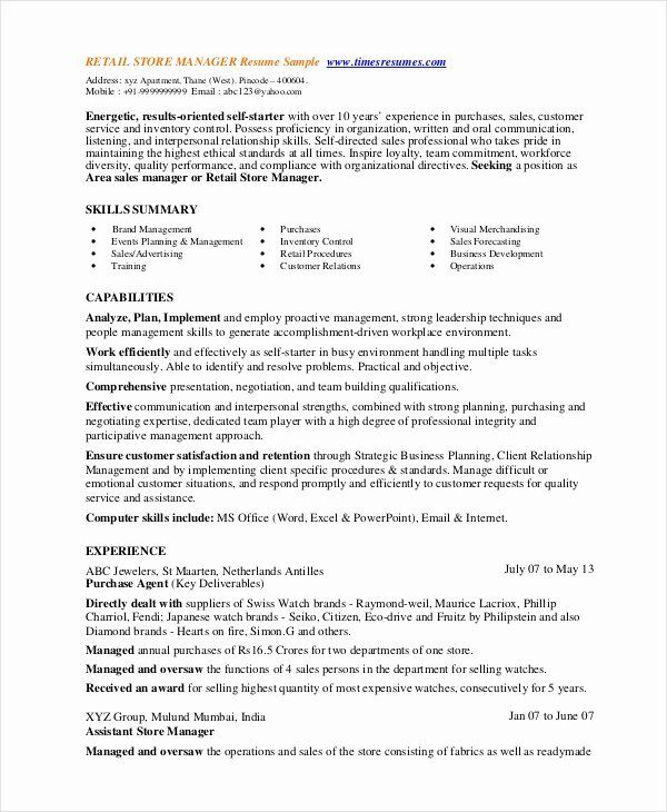 Retail Manager Resume Examples Inspirational 8 Retail Manager Resumes Free Sample Example Format In 2020 Resume Examples Sales Resume Examples Job Resume Samples