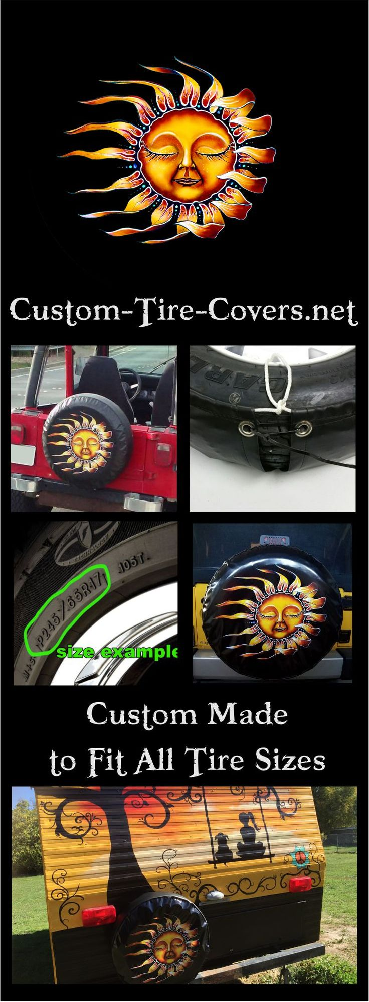 Sleeping Sun spare tire cover by Dubois Studios. Custom made to fit your exact tire size.