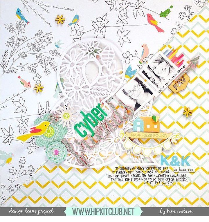 Friendship is so important in our life  Designer @kjstarre has created this amazing LO on this week theme  Created with #march2016 kits :: @pinkfreshstudio @official_basicgrey @americancrafts @ellesstudio #hipkits #hipkitclub #papercrafting #march2016 #friendship #scrapbooking