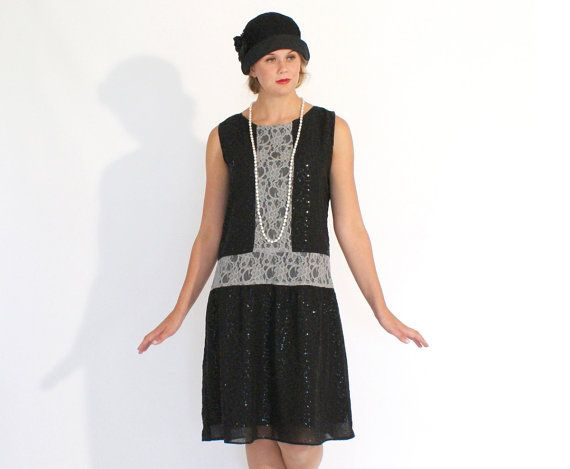 Art deco fashion, black and grey flapper dress, Great Gatsby dress, Downton Abbey dress, 1920s flapper dress, black party dress drop waist