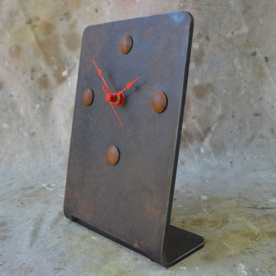 Industrial Desk or Mantle Clock Dark Patina von WhitesIndustrial