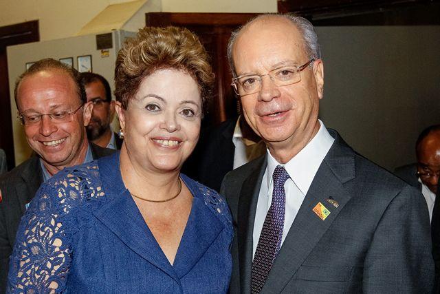 Presidente do Brasil, Dilma Rousseff, em visita à PUC do Rio Grande do Sul
