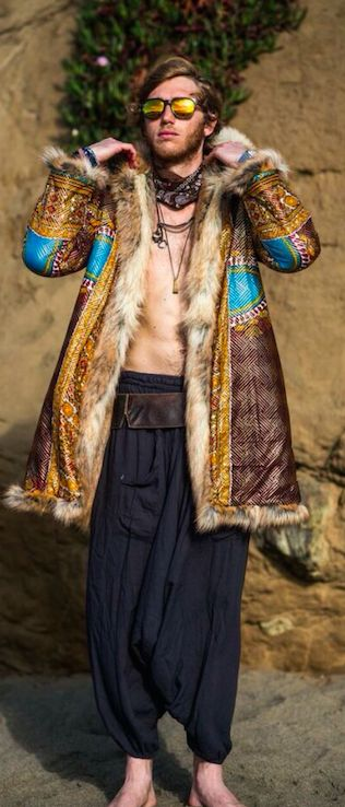 This Burning Man Coat looks a lot better than one made of all fur. Limit the fur to inside and trim.
