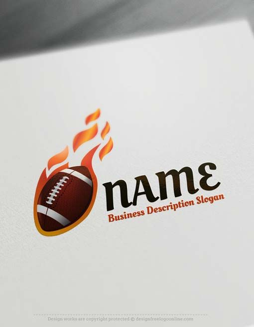 Create a logo Free - Free Logo Maker - football logo design Ready made American football Logo design Logo design decorated with a football logo image.     How to design free logo online? 1- Customize This logo with our free logo generator tool - Change you company name, slogan, colors & fonts. 2- Like your design? Buy this affordable logo template and use