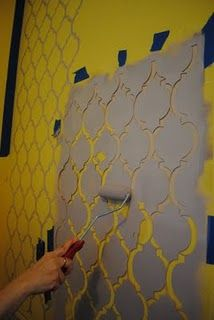 DIY Stenciled Moroccan Wall -- love the stencil idea, if you get tired of it, it is easier to paint over it than to remove wallpaper.