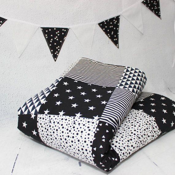 Black & White Nursery, Baby Blanket, Baby Bedding , Baby Quilt, Modern #Patchwork #Quilts , #Monochrome #Nursery, #Baby Blanket, Home and Living, Quilts