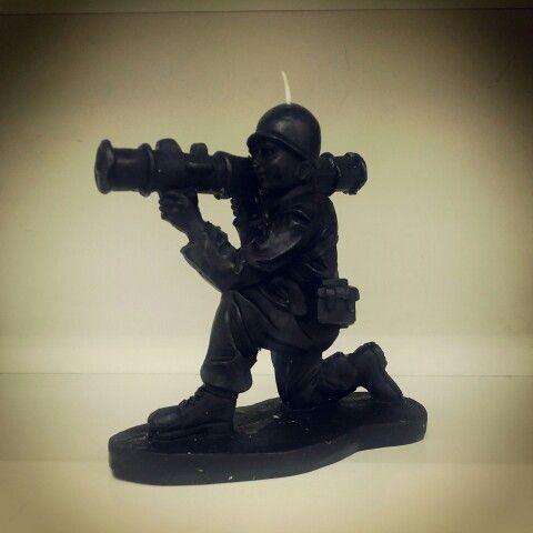 Black wax Army Man Candle