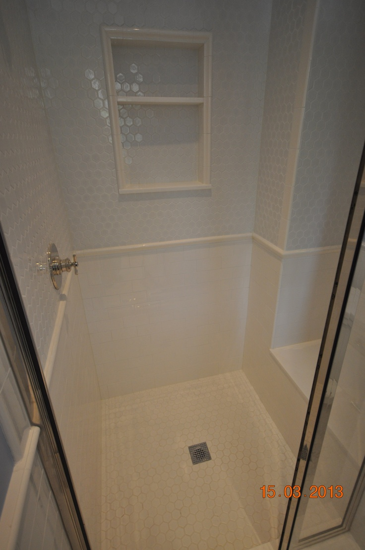 3x6 Subway Ceramic Tile With 2x6 Chair Rail And A Custom Niche Marble Glass Ceramic Tile