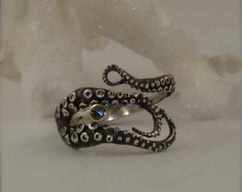 Sangre y diamantes anillo de tentáculos rubí diamante por OctopusMe