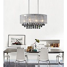 Oval 26 Inch Pendent Chandelier with White Shade