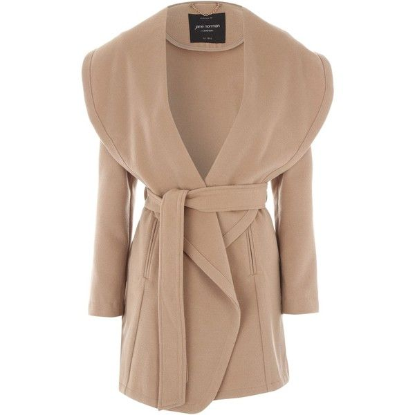 Jane Norman Camel Belted Wrap Coat ($98) ❤ liked on Polyvore featuring outerwear, coats, camel, women, camel coat, beige coat, oversized collar coat, jane norman and belted wrap coat