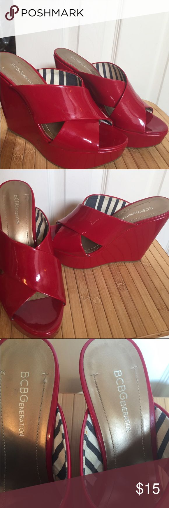 Red Wedge shoes size 7.5 BCBG Generation Gently used 7.5 red Jessica Simpson wedge sandals BCBGeneration Shoes Platforms
