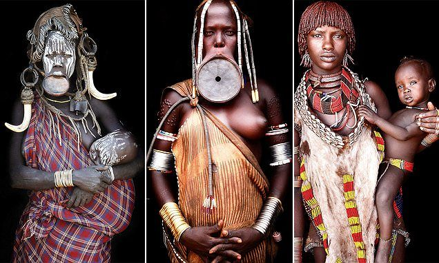 German photographer Mario Gerth, 38, spent seven years photographing tribal societies in Africa, including Ethiopian Muris women who wear elaborate lip plates as a sign of beauty.