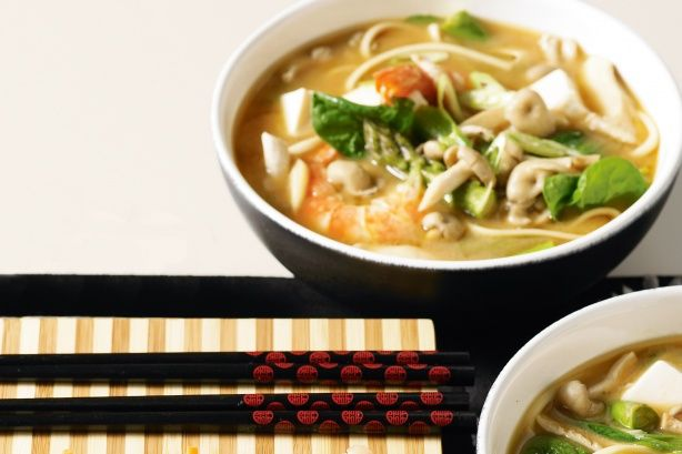 Miso Soup With Prawns, Tofu And Udon Noodles Recipe