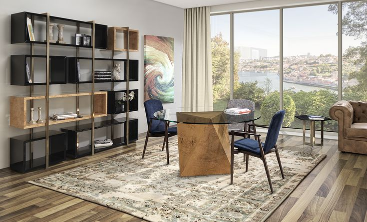 HALE - Laskasas | Decorate Life | Dining Room Decor and Ideas | In decor, good taste set the rules. In this proposal, simplicity abounds and fills the lines of a high bookcase, designed to give sobriety to the table of fearless structure accompanied by two chairs prepared to listen to any desire | Visit www.laskasas.com and discover more dining room decor ideas and inspirations, from dining tables to sideboards and cabinets