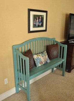 DIY bench from old crib. Maybe you could turn the old crib into a couch for a play room or kids room.