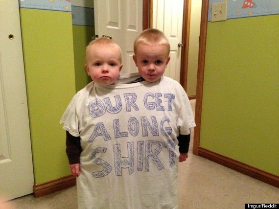 """our get along shirt""  awesome new way to get siblings to .. get along"