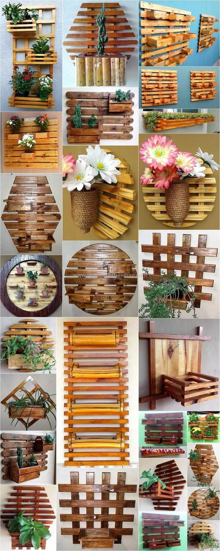 wooden pallet wall decor planters