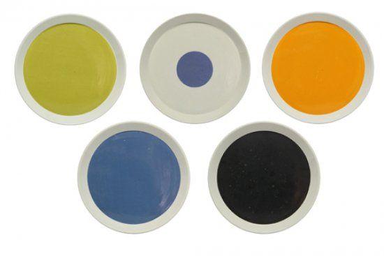"""Gio Ponti, Cinque piatti della serie """"Fantasia Italiana"""" per Ceramiche Franco Pozzi, 1967"""