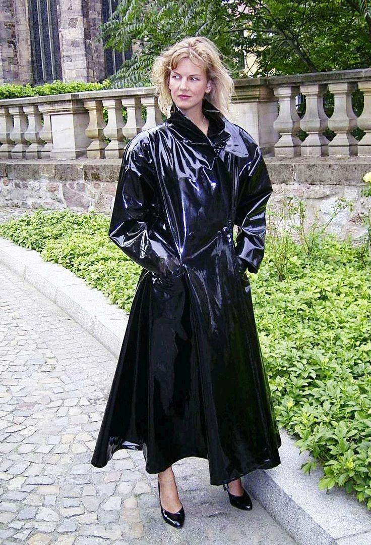 shiny black PVC raincoat