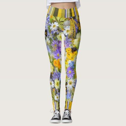 #floral - #Leggings Florals And Stripes