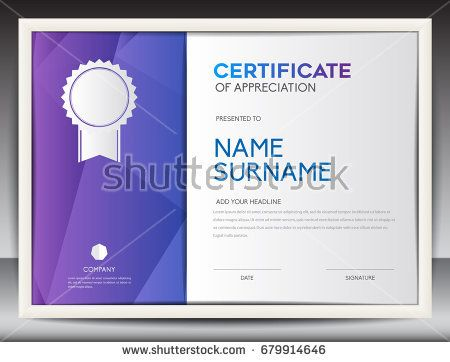 Certificate Template Vector Illustration, Diploma Layout In A4 Size,  Business Flyer Design, Advertisement  Certificate Layout