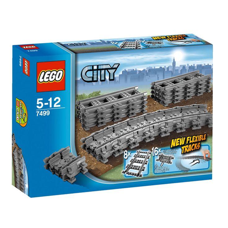 Lego rails 7499. Gebruik deze flexibele rails bij je LEGO treinset zodat je je treinbaan om allerlei obstakels heen kunt leggen. Maak je Lego City trein en spoorbaan nóg completer Leeftijd: 5-12 jaar. Afmeting: verpakking 25,5 x 5,5 x 18,5 cm - Lego City 7499 Flexibele Rails