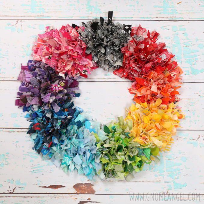 Diy Rainbow Fabric Scrap Rag Wreath Project Ideas Sew