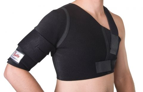 DONJOY SULLY SHOULDER SUPPORT - Provides controlled shoulder movement, ideal for treatment of rotator cuff damage, soft tissue strains, AC Joint separation and shoulder dislocation. It can be used for daily-living and top level sports.