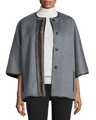 Cashmere Jacket w/Mink Fur Placket by J. Mendel at Bergdorf Goodman.