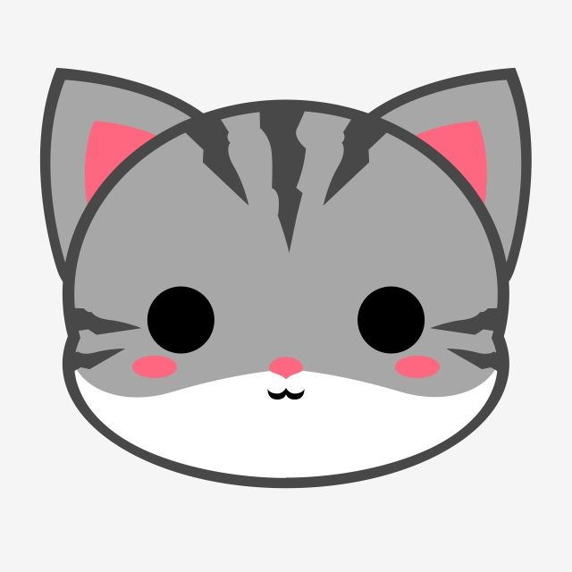Cute Grey Tabby Cat Head Cat Tabby Cartoon Png Transparent