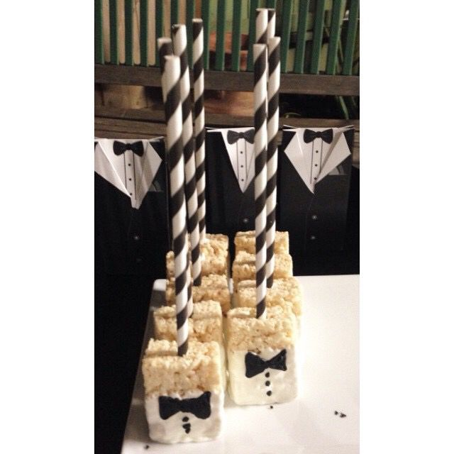 Rice Krispies dipped in white chocolate with a black bow tie for my babes wedding