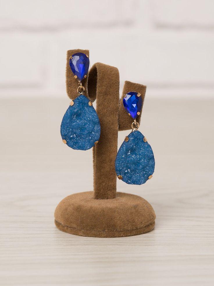 Pendiente Julia  -  Pendiente en color azul klein con dos piedras de diferente textura. Cierre a presión. - COMPLEMENTOS - Moda Casual Low Cost de Presagio Boutique