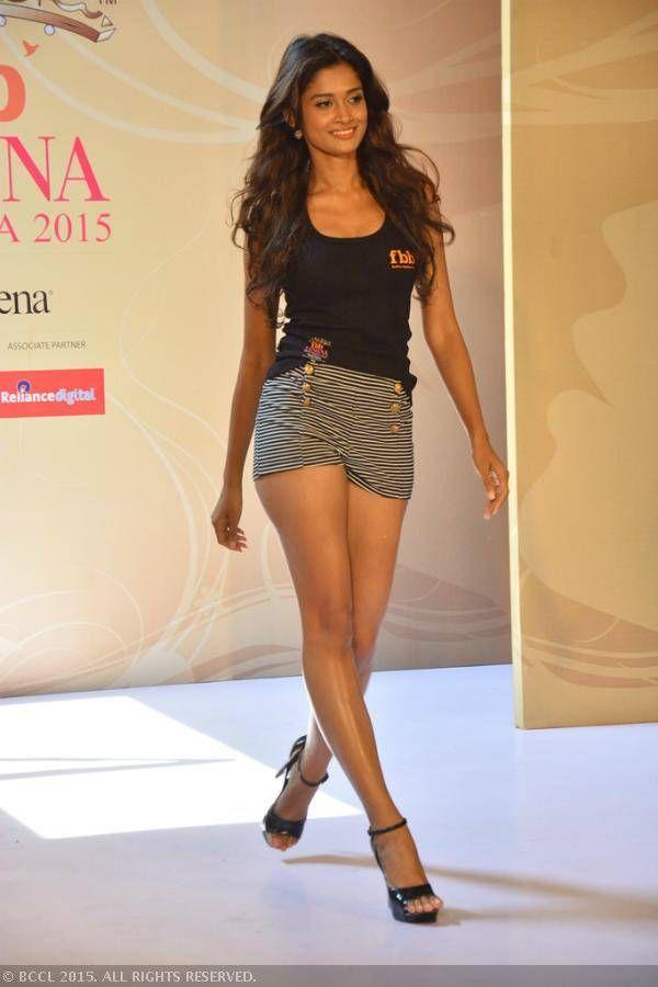 fbb Femina Miss India 2015 finalist, Sushrii Shreya Mishraa during the Olivia Miss Beautiful Legs sub contest at Sofitel, Mumbai.