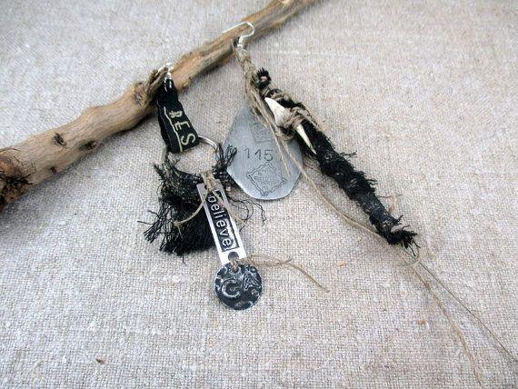 Black earrings Tribal  Earrings  Steampunk Asymmetric Dangle Earrings Art Jewelry Unique OOAK