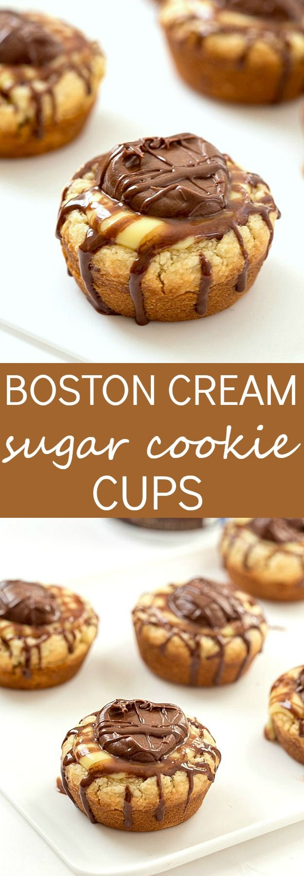 Boston Cream Sugar Cookie Cups - So easy anyone will be able to bake these! Sugar cookie cups baking with vanilla pudding in the center and topped with a dollop of chocolate fudge frosting. So good.