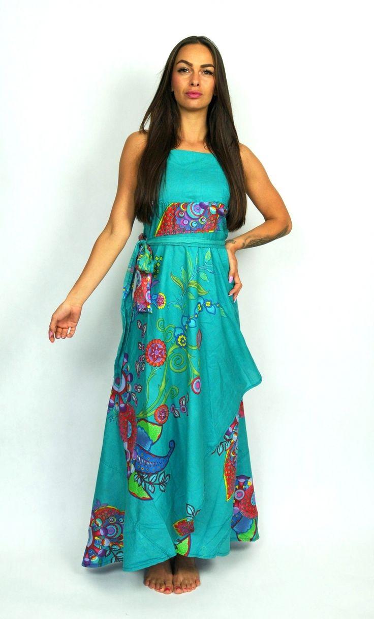 Zavinovací maxi šaty SUNDARI garden - tyrkysové
