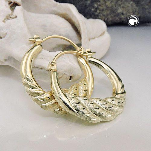 Klassische Damen Creolen Diamantschliff Ohrringe 585er echt Gold 14 Karat 21 mm