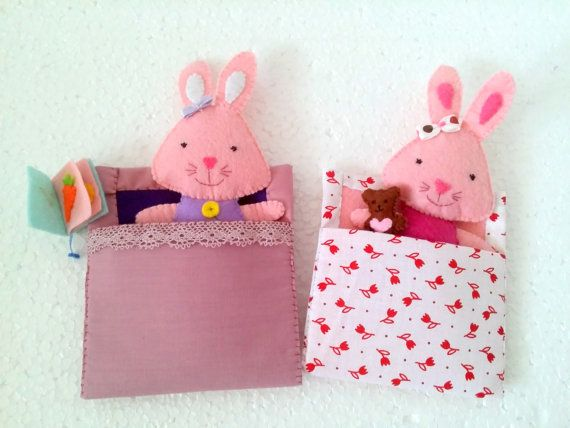 Bunny Toy Soft Doll for pretend play Stuffed by EmaDecorations