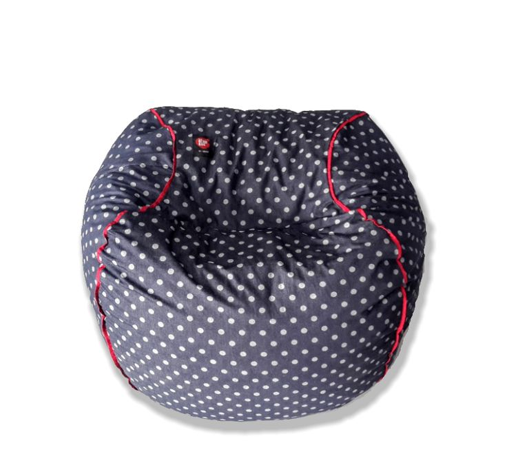 Denim beanbag (adult size), white polka with red piping