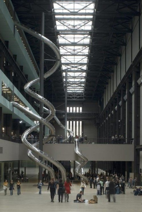 At the Tate Modern in London. I even tried to get Cameron to go down one - he refused. On second thought, glad he did.