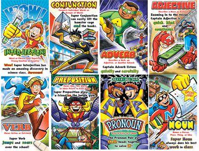 Parts Of Speech Superheroes Bulletin Board Set Superhero