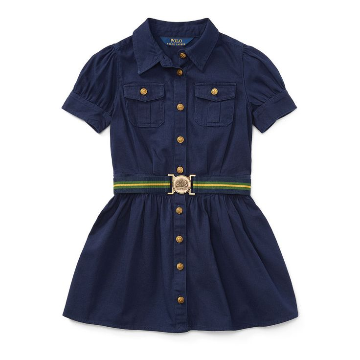 With chest pockets, gold-tone buttons, and a removable striped belt, this lightweight cotton chino dress puts a fresh spin on vintage military uniforms.