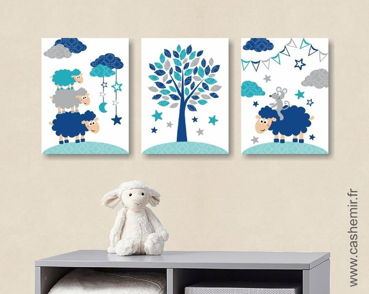 affiche pour chambre de b b et d 39 enfant gar on mouton souris bleu gris turquoise r. Black Bedroom Furniture Sets. Home Design Ideas
