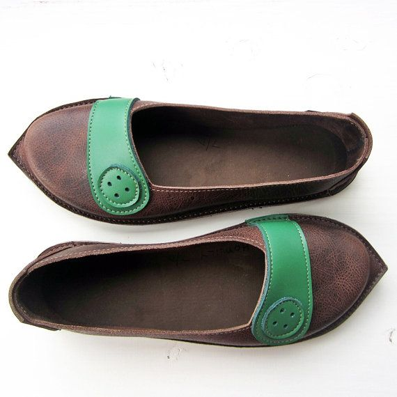 Comfort shoes HOMILY elven Handmade Leather BUTTON by Fairysteps