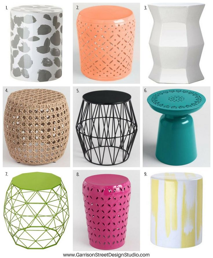 Friday Favs | Garden Stools | Garrison Street Design Studio | Garden Stool Roundup | Garden Stools Less than $100 | Decor | Patio | Outdoor | Side Table | Plant Stand | Ceramic | Metal | Wicker | Bedroom | Bathroom | Porch | White | Green | Pink | Black | Coral | Orange | Yellow | Gray | Lime | Teal | Shower | Cheap | Entryway | Garden Stool Ideas | Home Decor | Drum Stool | Modern Garden Stools | World Market | Target | Wayfair | Colorful | Extra Seating | Modern | Traditional | Funky…