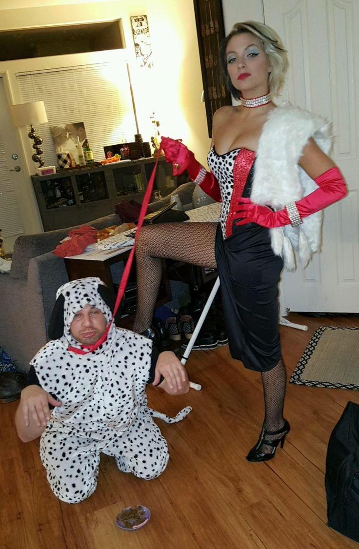 Cruella Deville and Dalmatian halloween costume - funny ...