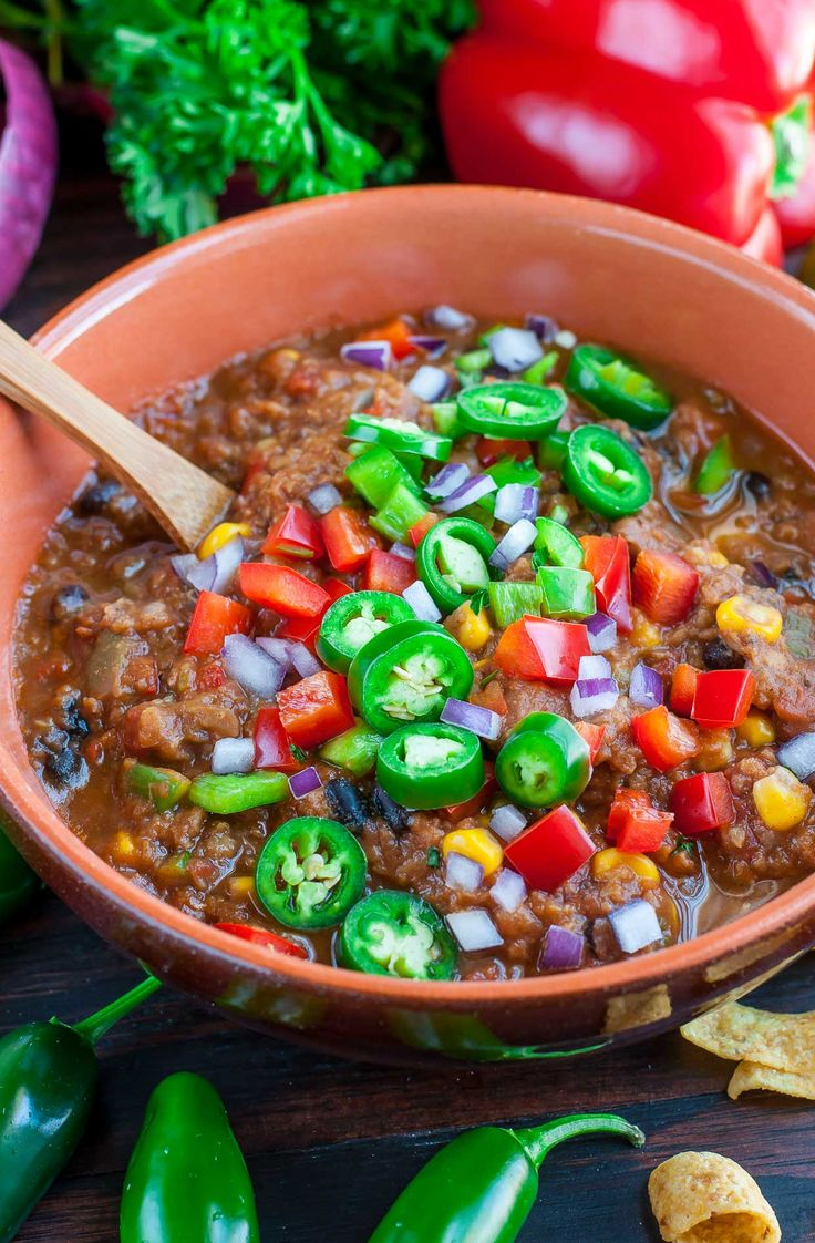 This tasty vegan lentil chili is sure to impress! With stove-top, pressure cooker, + slow cooker versions listed, you can whip it up any way you choose!