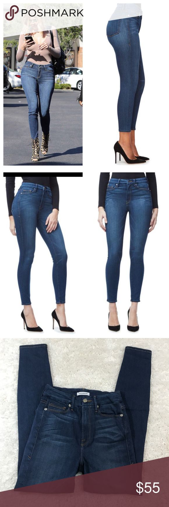 """Khloe Kardashian Good American high waisted jeans In EUC jeans by Khloe Kardashian Good American brand. The jeans are high waisted and does have stretch to them. Measurements waist 13"""" rise 10"""" inseam 27"""" length 37.5"""" Good American Jeans Skinny"""