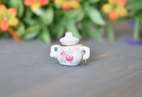 Teapot Charm Polymer Clay Pink
